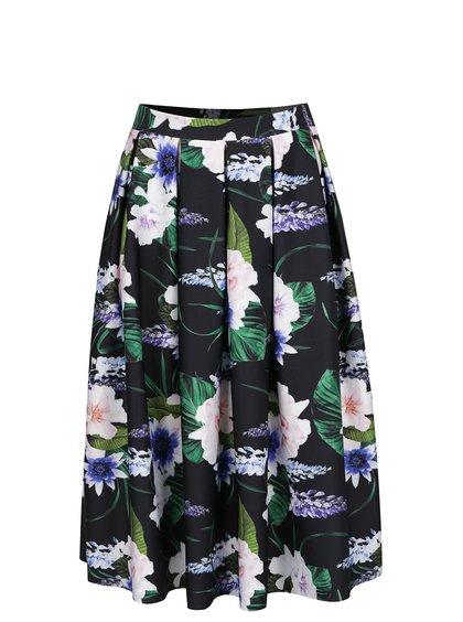 Černá skládaná sukně s květinovým motivem Dorothy Perkins