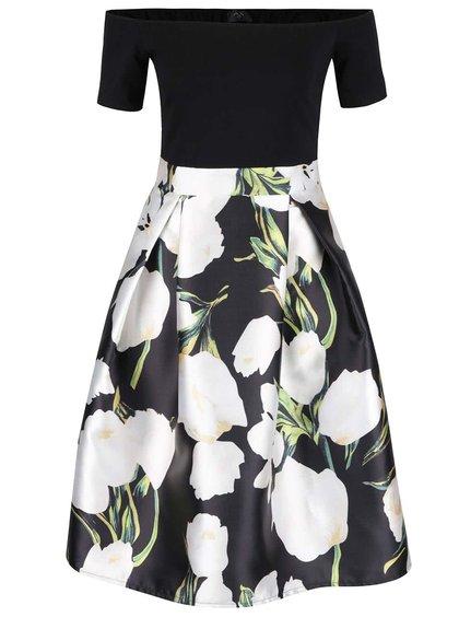 Černé šaty s bílými květy AX Paris