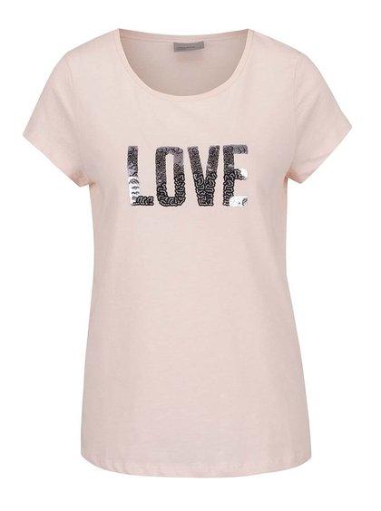 Světle růžové tričko s nápisem z flitrů VERO MODA Wivi