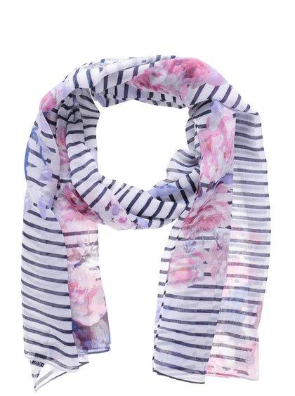 Modro-bílý pruhovaný šátek s motivem květin Tom Joule Wensley