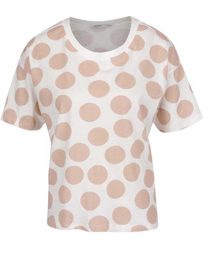 Krémové volné tričko se starůžovými puntíky ONLY Dots