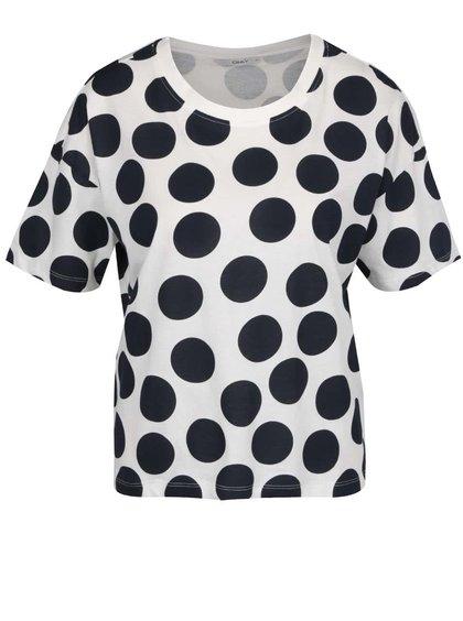 Krémové volné tričko s tmavě modrými puntíky ONLY Dots