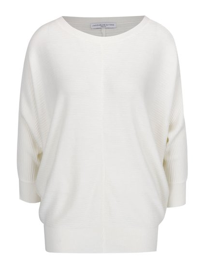 Krémový žebrovaný svetr s netopýřími rukávy Jacqueline de Yong Flip