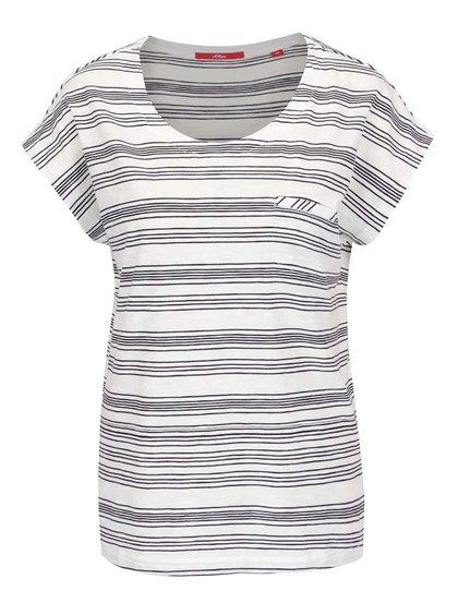 Krémové dámské pruhované tričko s.Oliver