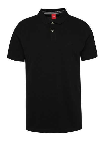 Tricou polo negru s.Oliver cu șlițuri laterale
