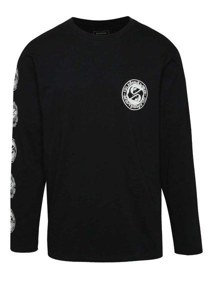 Bluză neagră Quiksilver din bumbac cu print