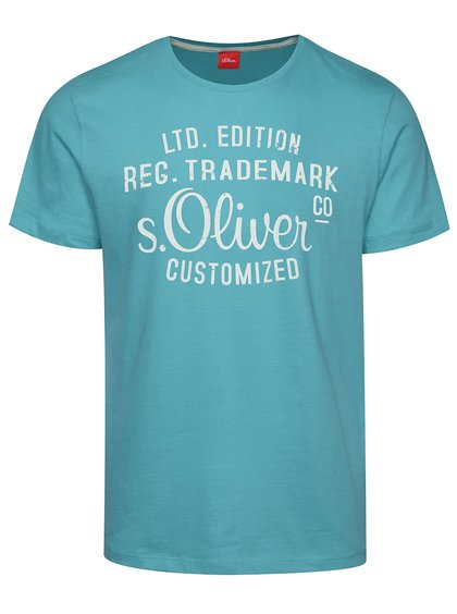 Tyrkysové pánské triko s bílým potiskem s.Oliver