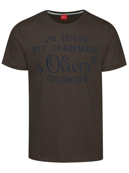 Tricou gri închis s.Oliver din bumbac cu logo print