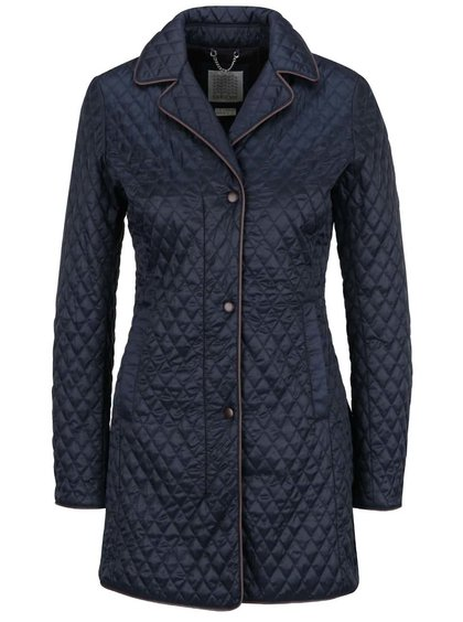Tmavě modrý dámský dlouhý prošívaný kabát Geox