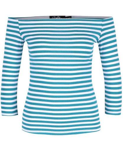 Bluză turcoaz în dungi Dolly & Dotty Gloria cu decolteu pe umeri
