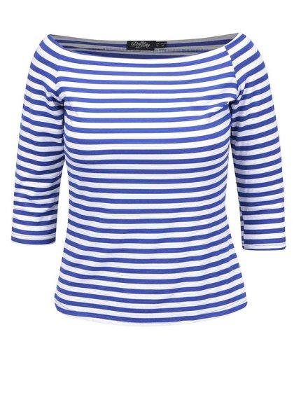 Modré pruhované tričko s lodičkovým výstřihem Dolly & Dotty Gloria