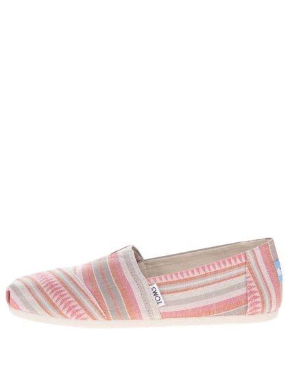 Krémovo-růžové dámské pruhované loafers TOMS Stripe