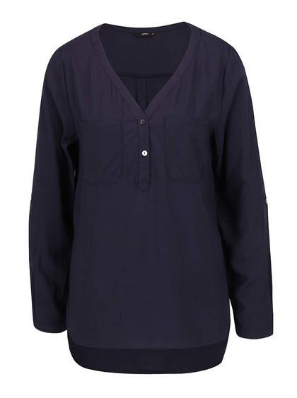 Bluză bleumarin ONLY Nova cu decolteu în V