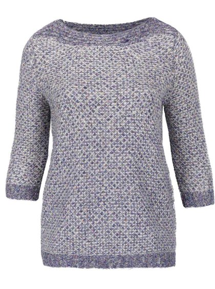 Pulover tricotat albastru melanj M&Co cu mâneci 3/4