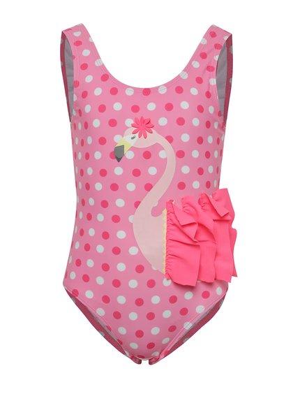 Růžové holčičí puntíkované plavky s plameňákem 5.10.15.