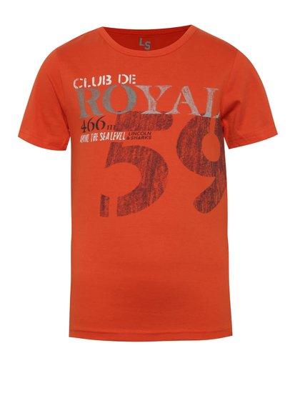 Oranžové klučičí triko s potiskem a kulatým výstřihem 5.10.15.
