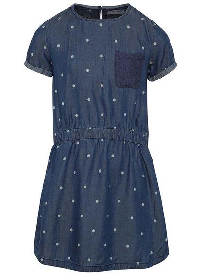 Rochie albastru închis 5.10.15. cu model cu buline și buzunare