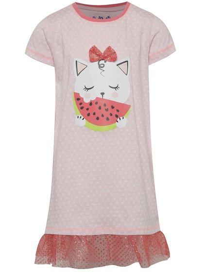 Růžová holčičí noční košilka s motivem kočky 5.10.15.