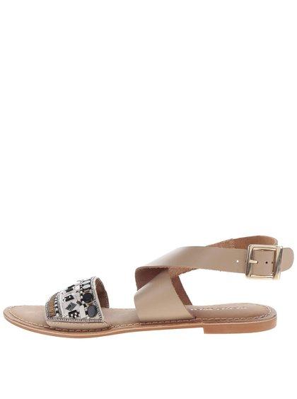 Béžové kožené sandály VERO MODA Melise