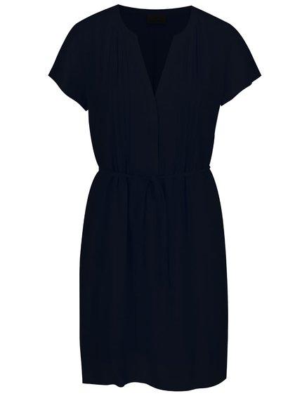 Tmavě modré šaty se zavazováním v pase VERO MODA Mandy