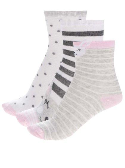 Sada tří párů holčičích ponožek v šedé a bílé barvě s králíkem 5.10.15.