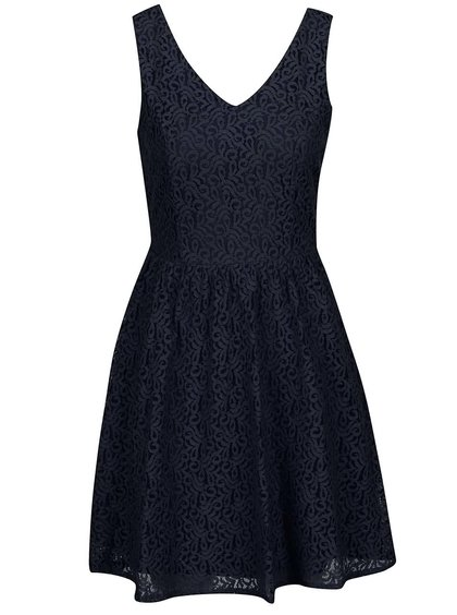 Tmavě modré krajkové šaty s knoflíky na zádech VERO MODA Sasha