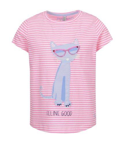 Tricou roz Tom Joule din bumbac cu print și model în dungi pentru fete
