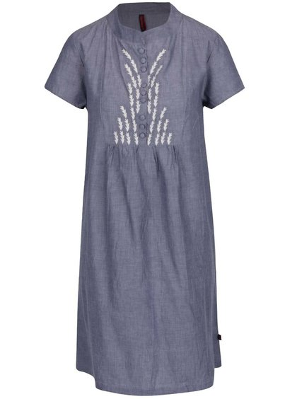 Rochie albastru melanj Tranquillo Loa din bumbac cu guler tunică și detalii