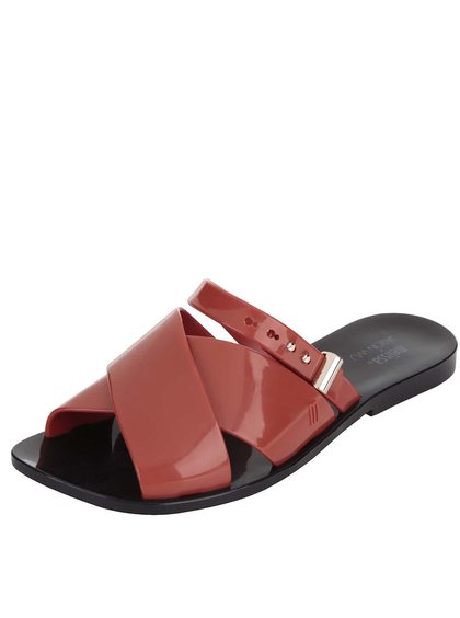 Černo-cihlové pantofle se sponou Melissa Diane