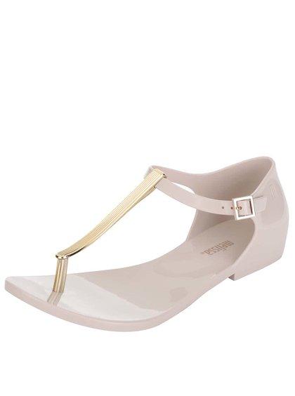 Sandale bej Melissa Honey Chrome cu detaliu metalic