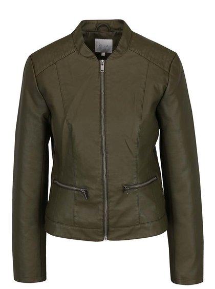 Jachetă kaki VILA Popular din piele ecologică
