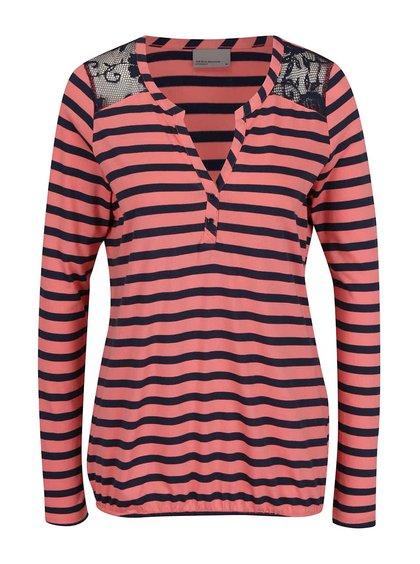 Modro-růžové pruhované tričko s dlouhým rukávem VERO MODA Maggie