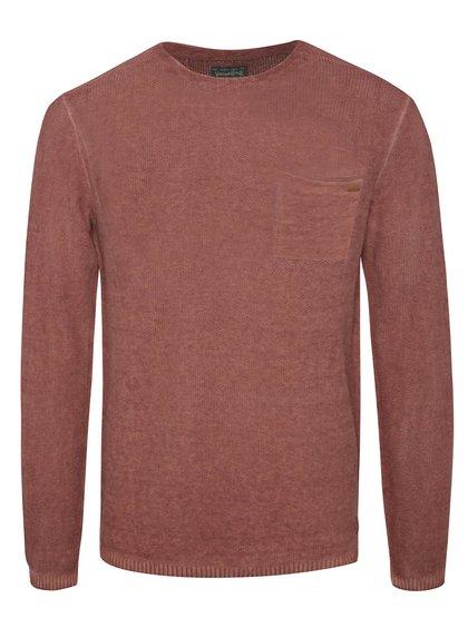 Cihlový lněný svetr s kapsou Jack & Jones Carlos