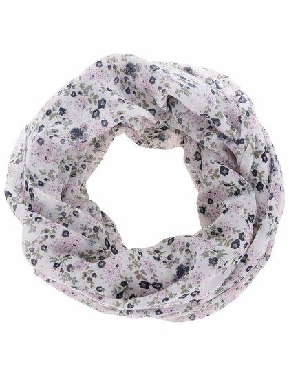 Růžovo-bílý květovaný dutý šátek Pieces Sussy