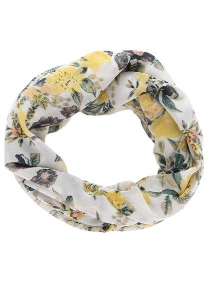 Žluto-krémový květovaný dutý šátek Pieces Les