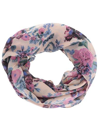 Modro-růžový květovaný dutý šátek Pieces Les
