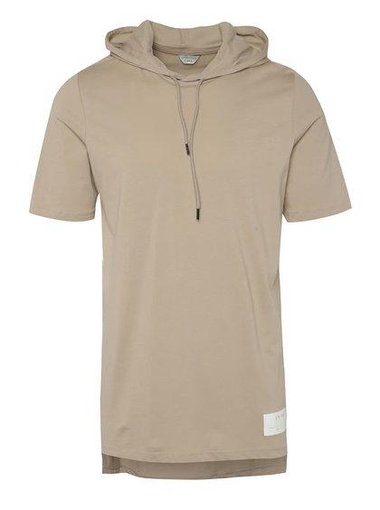 Béžové dlouhé triko s kapucí Jack & Jones Conjoin