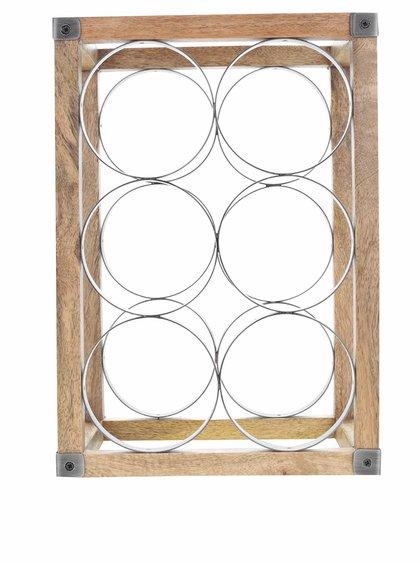 Dřevěný stojan s kováním na šest lahvní vína Kitchen Craft