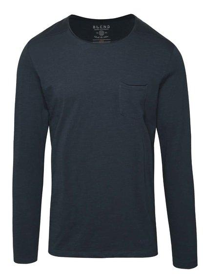 Bluză subțire bleumarin Blend din jerseu cu buzunar pe piept