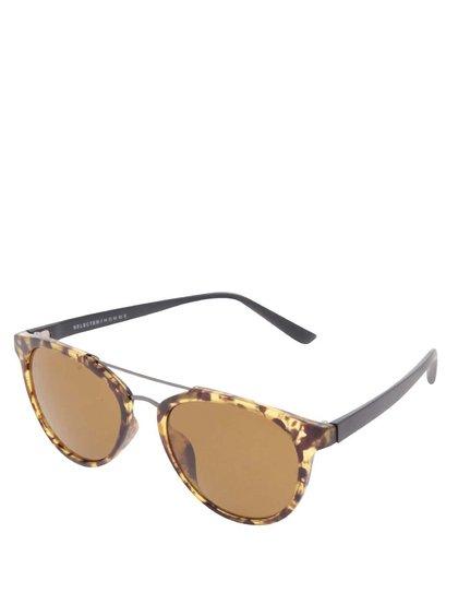 Hnědé vzorované sluneční brýle Selected Homme Bendix