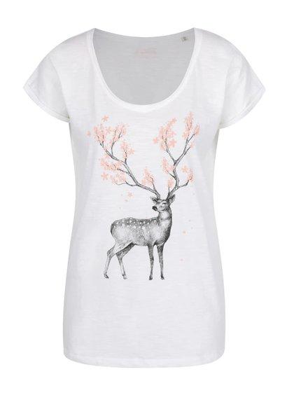 Bílé dámské tričko ZOOT Originál Blossoming deer