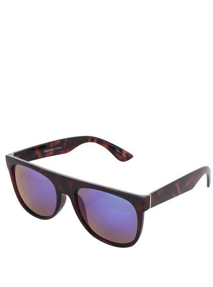 Hnědočerné vzorované sluneční brýle Pieces Lenni