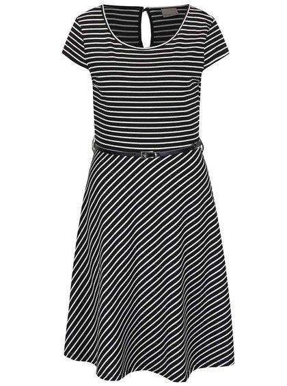 Černé pruhované šaty s páskem VERO MODA Vigga