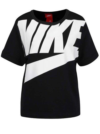Černá dámská mikina s krátkým rukávem a potiskem Nike Modern