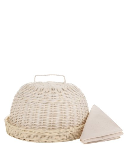 Béžová kulatá chlebovka s utěrkou Dakls