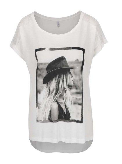 Krémové tričko s krajkou na ramenou ONLY Alessa