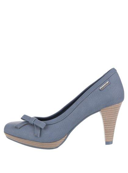 Pantofi cu toc albaștri bugatti Isabella cu fundă decorativă