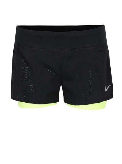 Zeleno-černé dámské funkční kraťasy Nike Flex