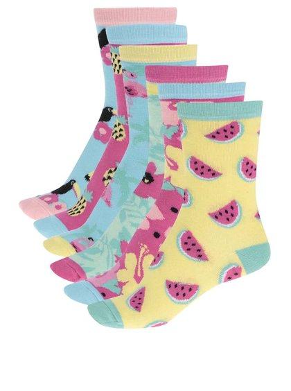 Sada šesti modrých dámských ponožek Oddsocks Tropicool