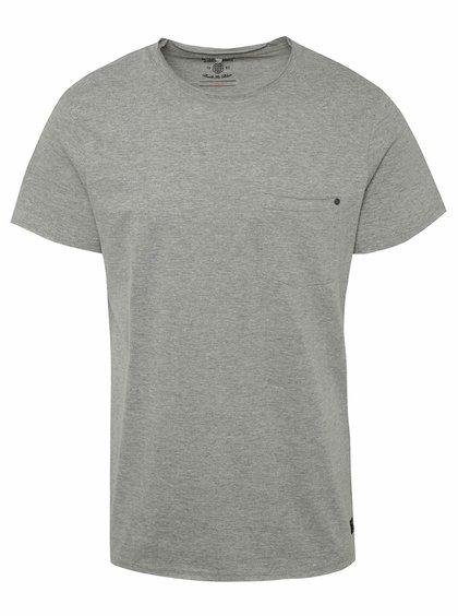 Šedé žíhané triko s kapsou Blend